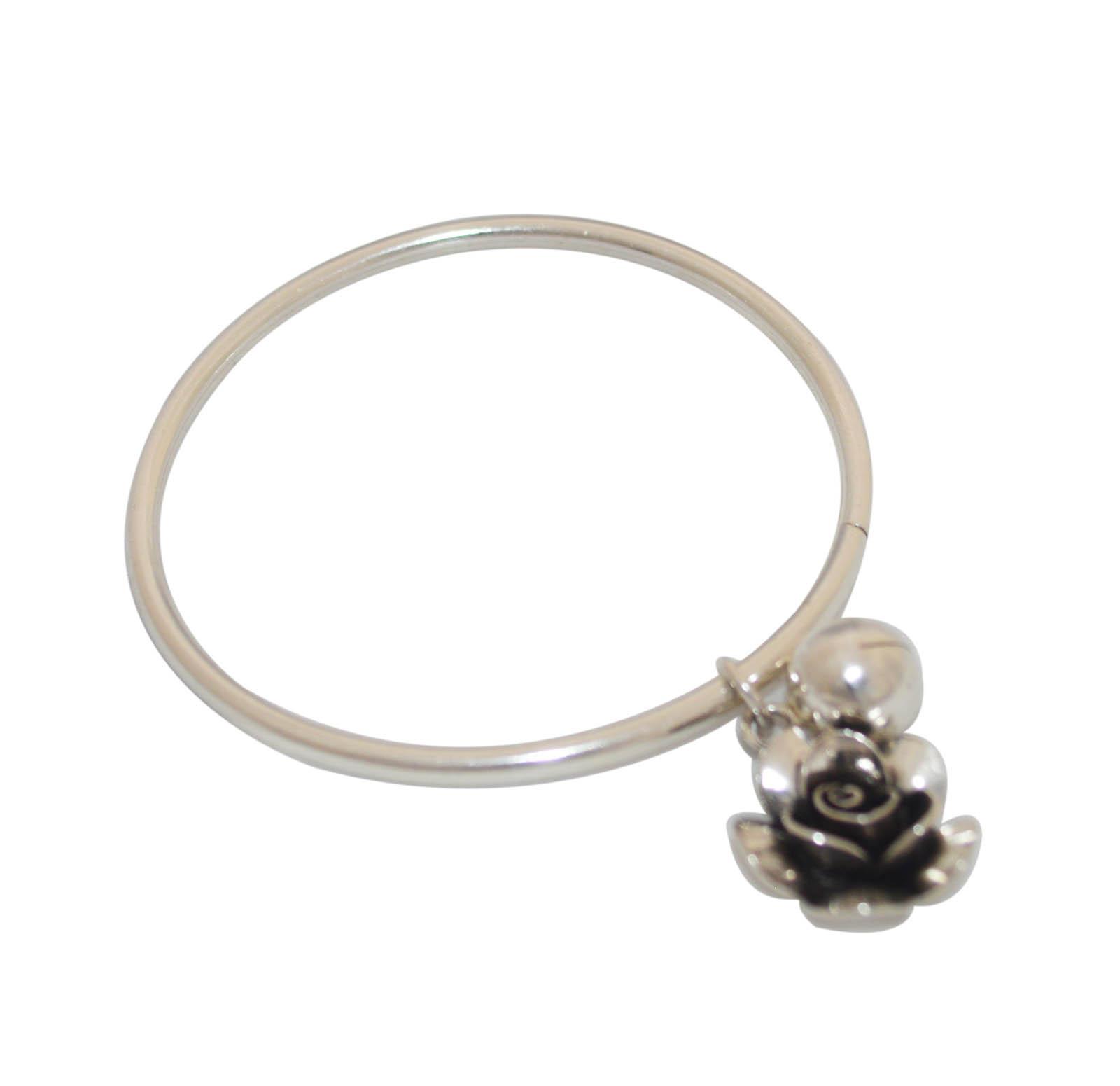 Handmade Silver Flower Bangle