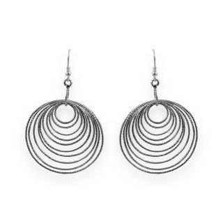 Multiple loop oxidised earrings