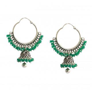 Beautiful Green Onyx Bali Jhumka