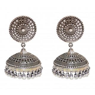 Classic Designer Silver Jhumka Bali